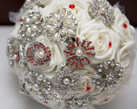 Custom Made Brooch Wedding Bouquet With Cream/Ivory Roses And Red Brooches, Jewel Bouquet