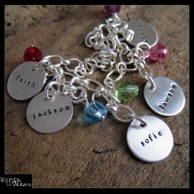 Custom Made Custom Name Five Charm Bracelet Hand Stamped & Birthstone Crystals