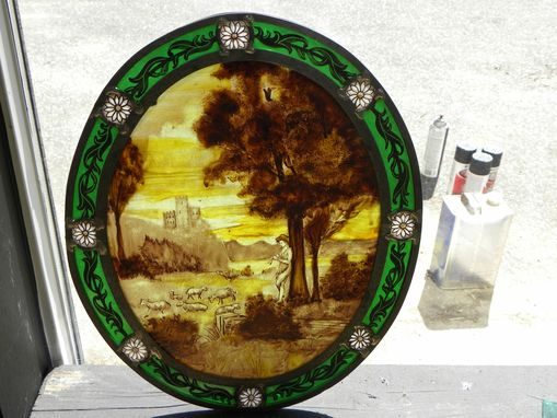 Custom Made Stained Glass  Painted Medallion