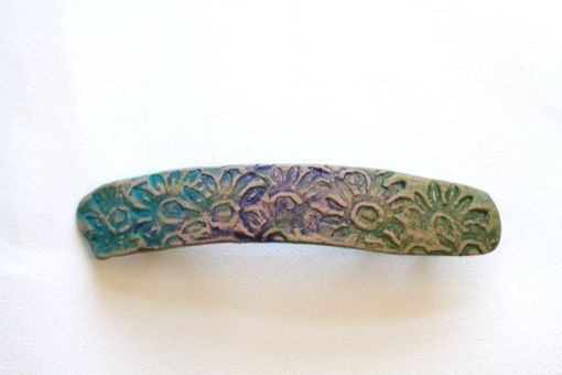 Custom Made Barrette, Hair Clip, Hand Painted Barrette, Polymer Clay And Paint Rub-Off