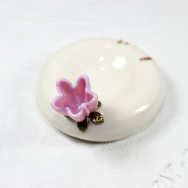 Custom Made I Do' Pink Flower Engagement Ring Holder