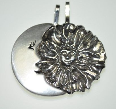 Custom Made Sterling Silver Couple's Sun And Moon Necklaces