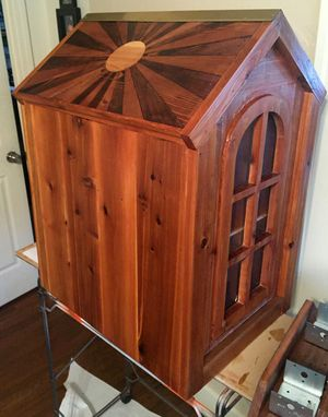 Custom Made Little Free Library House With Intarsia Artwork