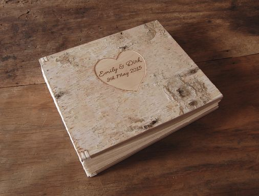 Custom Made Engraved Birch Bark Wedding Or Anniversary Photo Album