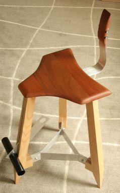 Custom Made Modern Stool With Mahogany Seat, Backrest, And Adjustable Height Footrest And