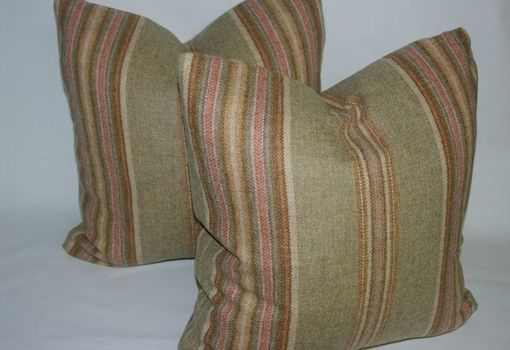 Custom Made 16x16 Menswear Wool Stripe Pillow Cover