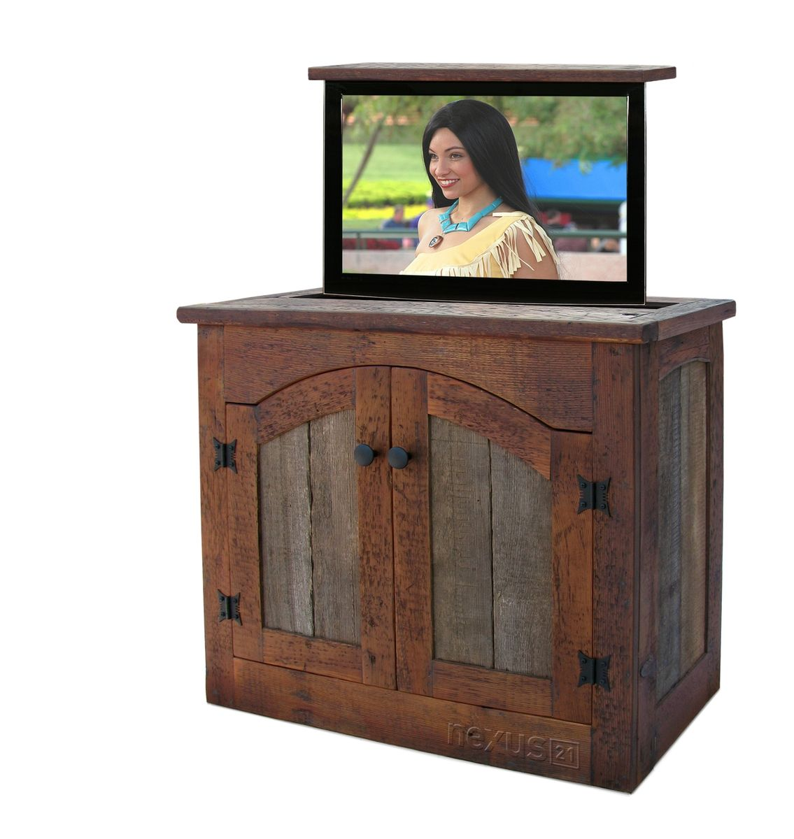 Custom made rustic tv lift cabinet small by custom - Custom made cabinet ...
