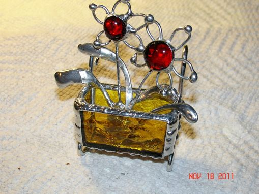 Custom Made Mini Stained Glass Flower Cart With 2 Wire Flowers