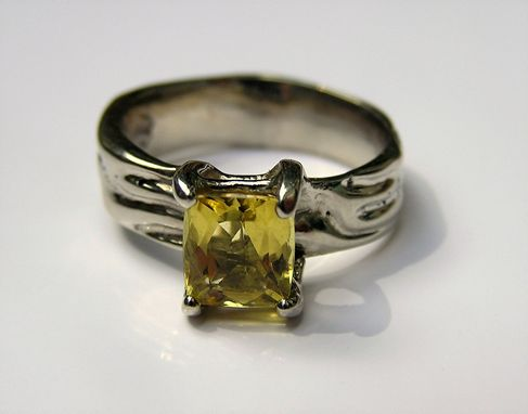 Custom Made Yellow Beryl Gemstone  Ring In Custom White Gold