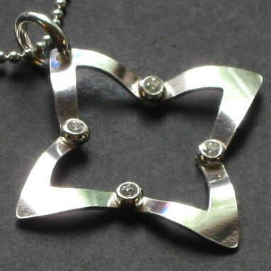 Custom Made Sterling And Cz Four Corners Pendant
