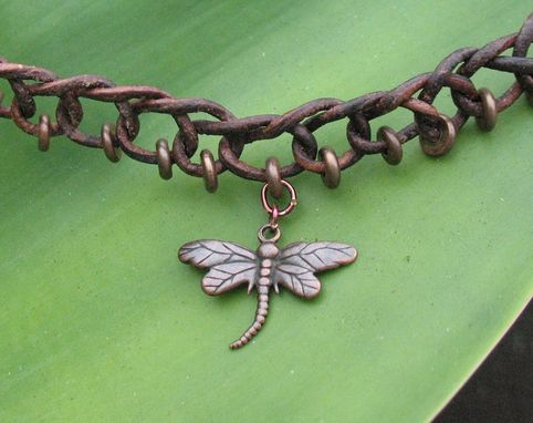 Custom Made Necklace / Choker:  Brown Braided Leather Cord With Copper Beads And Pendant