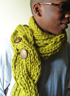 Custom Made The Oversized Chunky Cabled Knit Twist Scarf - Rustic - In Lemongrass