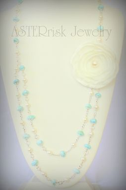 Custom Made Larimar And Pearl Necklace With Satin Brooch