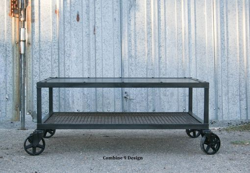 Custom Made Vintage Industrial Coffee Table. Steel. Mid Century. Casters. Urban, Reclaimed Wood Avail.