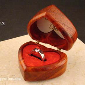 Solid Padauk Heart Shaped Ring Box Free Engraving And Shipping Rb 65 By