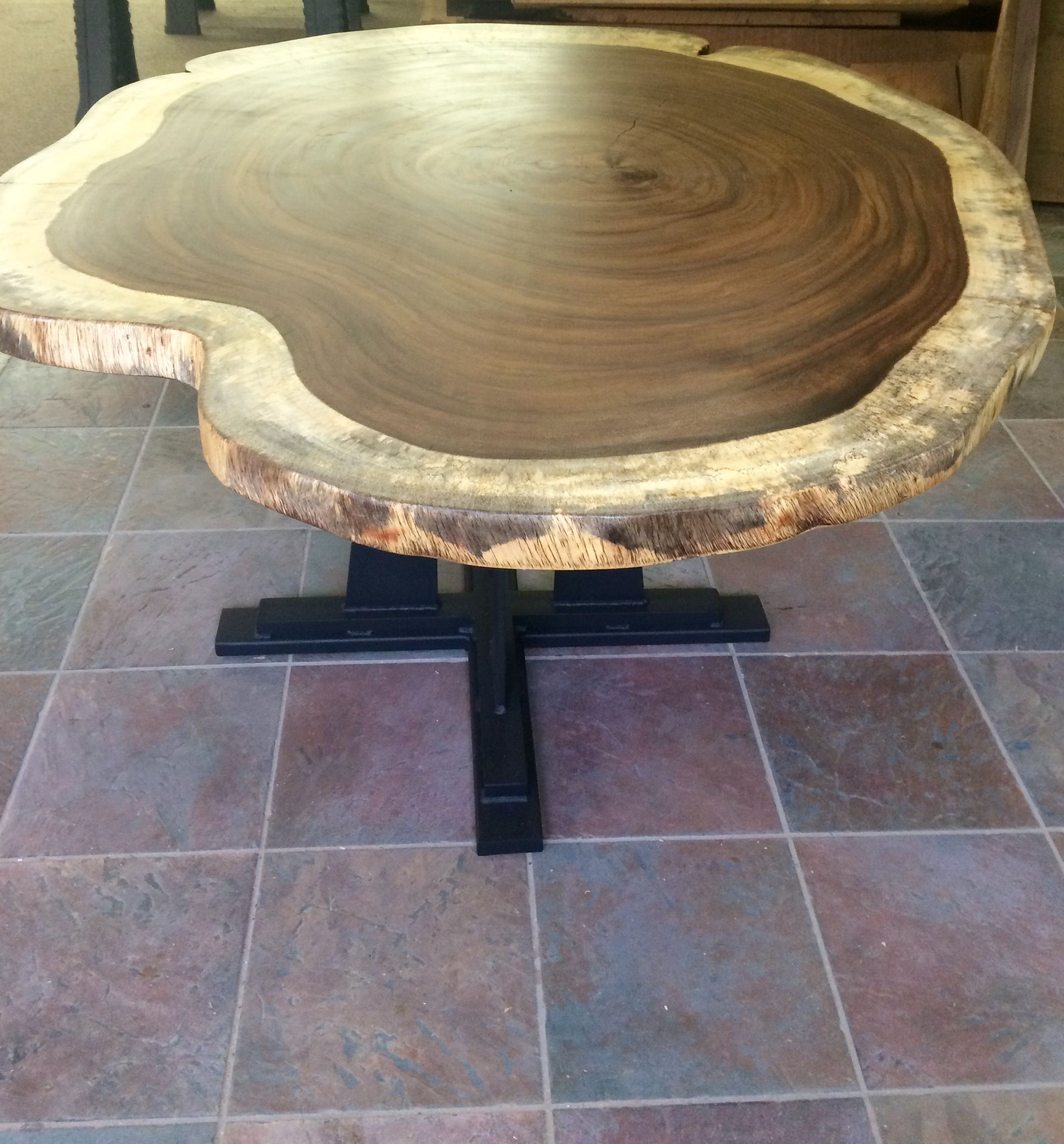 Handmade guanacaste slab round dining table by blowing for Custom made marble dining tables
