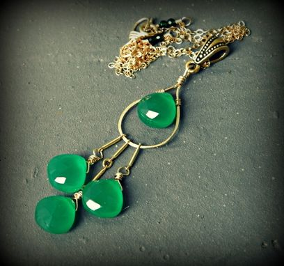 Custom Made Emerald Green Onyx 14k Gold Filled Necklace