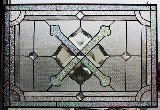 Custom Made All Clear Beveled Leaded Stained Glass Window