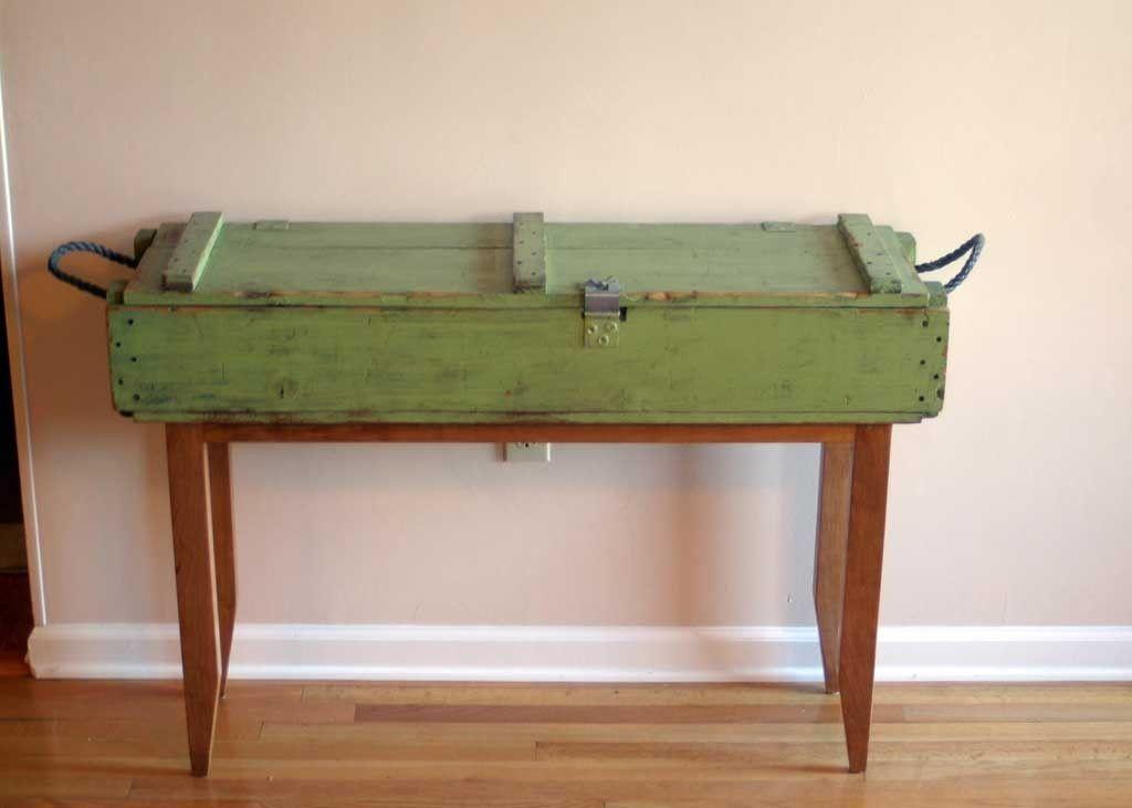 Handmade Reclaimed Cherry And Ammunition Box Hall Table By