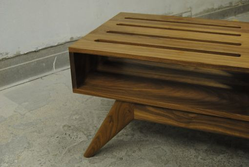 Custom Made Mid Century Inspired Slatted Walnut Coffee Table