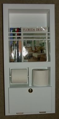 Custom Made Mr-10 In-The-Wall Magazine Rack/Toilet Paper Holder Plus Storage Cubby