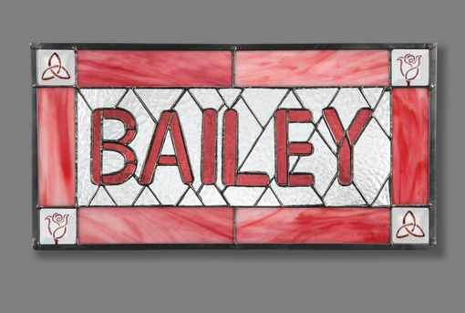 Custom Made Stained Glass Name Plate