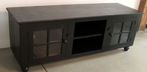 Custom Made Black Wash Reclaimed Pine Media Cabinet For Tv
