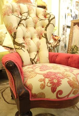 Custom Made Upholstered Vintage Victorian Ladies Chair In Painted Silk, Velvet And Chenille