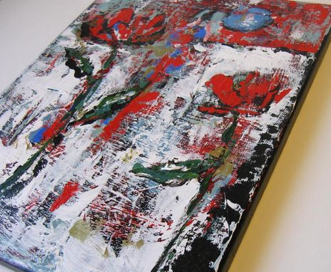 Custom Made Original Art Still Life Abstract Flower Painting In Red