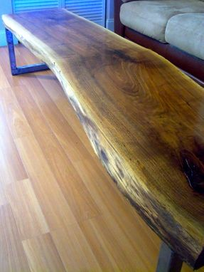Custom Made Live Edge Black Walnut Coffee Table With Square Legs