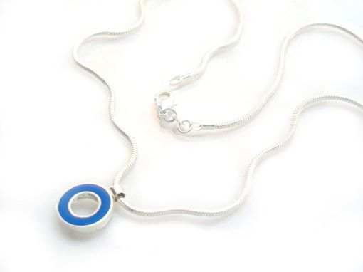 Custom Made Cobalt Blue Pendant - Small Round Loop Pendant Necklace - Recycled Sterling Silver