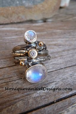 Custom Made Twing Ring With White Moonstone
