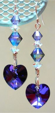 Custom Made Swarovski Crystal Heliotrope Heart Sterling Silver Earrings