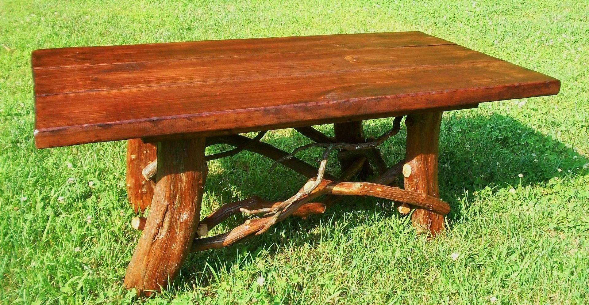 Hand crafted rustic coffee table with mountain laurel base for Wood coffee table kits