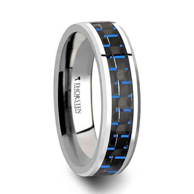 Custom Made Auxilius Black & Blue Carbon Fiber Inlay Tungsten Carbide Ring - 6mm - 10mm