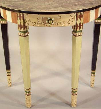 Custom Made Handpainted Demi-Lune Hall Table