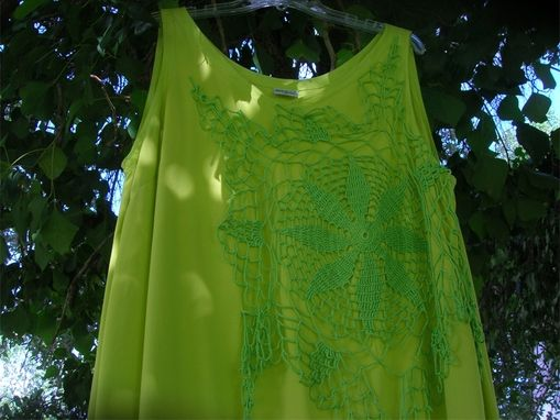 Custom Made Women's Upcycled Crochet Doily Assymetrical Tunic Top
