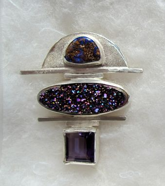 Custom Made Boulder Opal, Titanium Druzy, And Faceted Amethyst In Sterling Silver