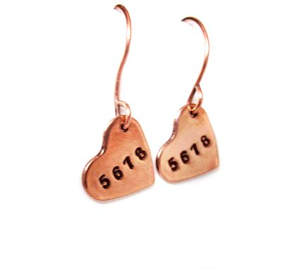 Custom Made Dancer's Heart Earrings - 5,6,7,8 - Handstamped Shiny Brass