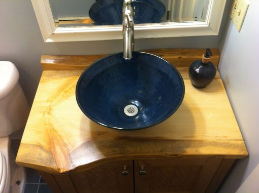 Custom Made Cherry Bathroom Vanity With Live-Edge Pine Counter