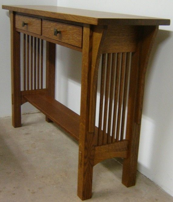 Custom Made New Solid Quarter Sawn White Oak Mission Style Sofa Table Hall