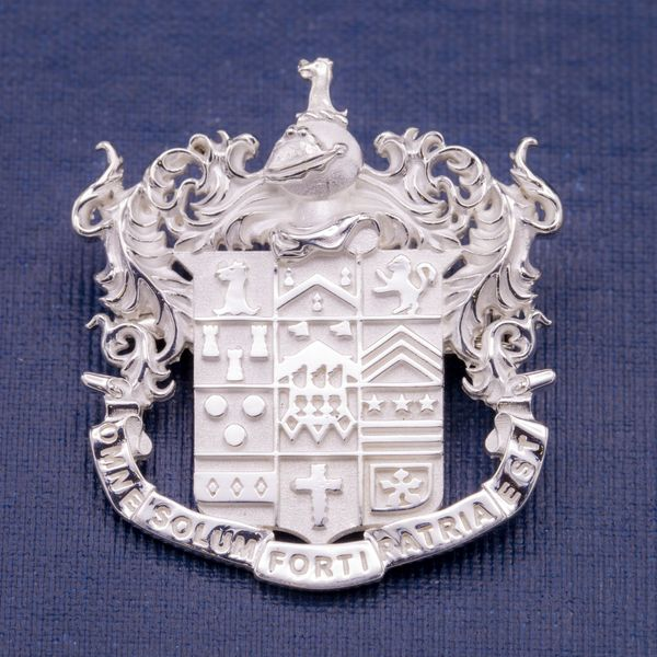 Family crest rings and pendants may be more common, but this customer's coat of arms translates beautifully to a pin.