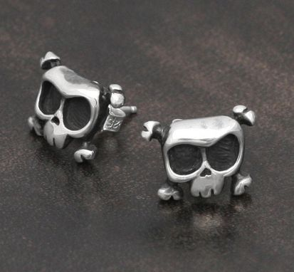 Custom Made Skull Earrings Louie In Sterling Silver