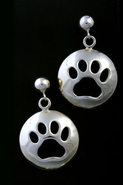 Custom Made Large Round Paw Print Earrings