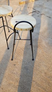 Custom Made Metal Base Stool With Wood Seat.