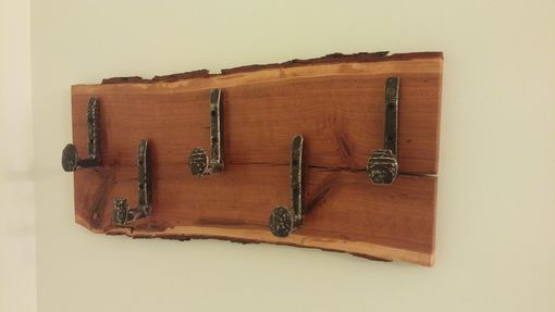 Custom Made Cherry Live Edge Coat Rack, Towel Rack, Reclaimed Railroad Spikes