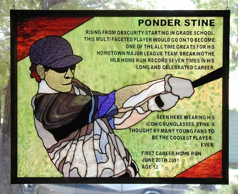 Custom Made Baseball Stained Glass