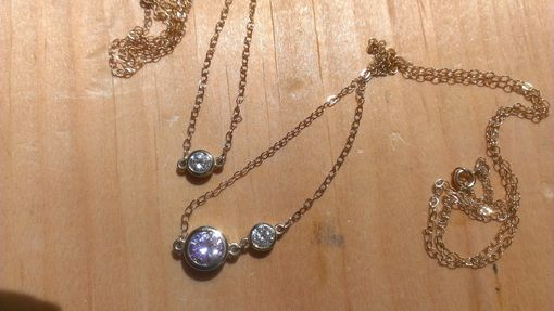Custom Made 14k Gold Bezel Necklaces