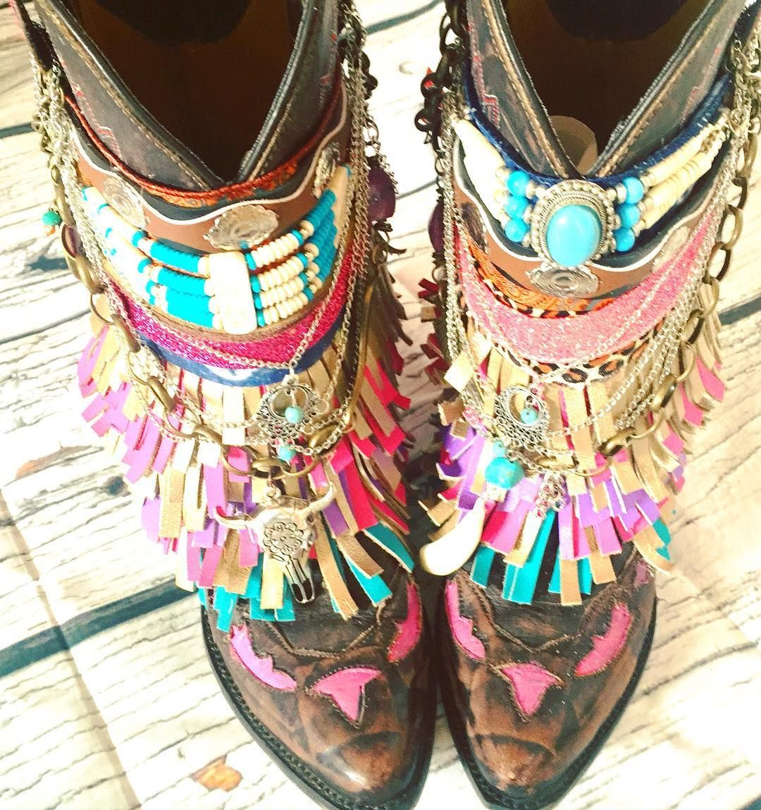 Hand Made Adult Customized Gypsy Boots By Tribe Wild Child
