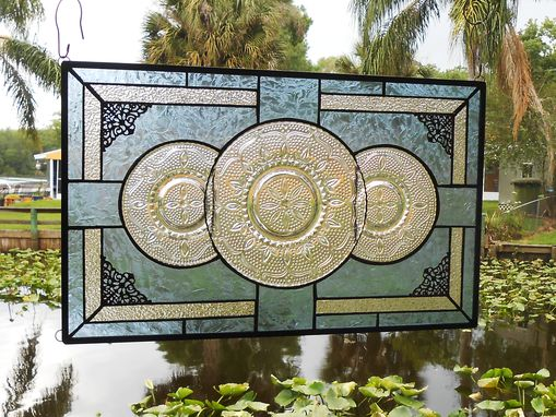 Custom Made Stained Glass Window Panel, Depression Glass Plate Valance